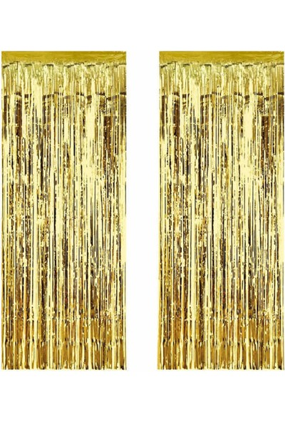 Tahtakale Toptancısı Metalize Arka Fon Süsü Asmalı Yerli 40 cm x 200 cm 2 li Set Altın