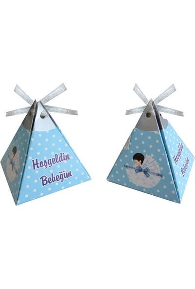 Tahtakale Toptancısı Karton Lokumluk Hoşgeldin Bebeğim Pusetli Pramit Modeli 50 Adet Mavi
