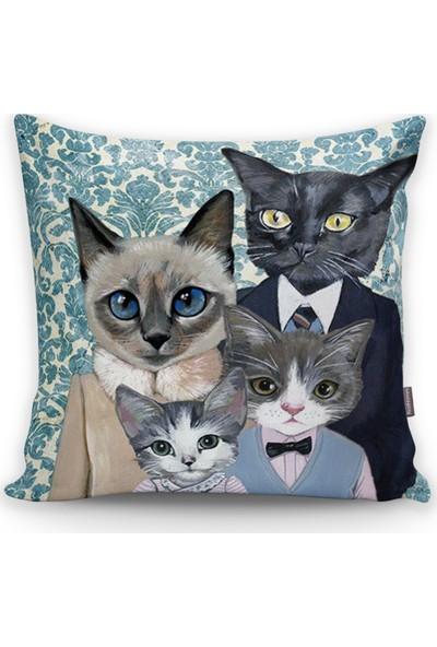 Realhomes Kedi Ailesi Desenli Yastık Kırlent Kılıfı