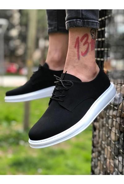 Chekich Ch003 Süet Beyaz Taban Erkek Ayakkabı Siyah