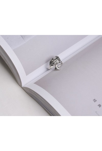 VipBT 925 Ayar Tüylü Ok Ayarlanabilir Gümüş Yüzük