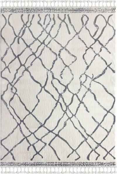 Payidar Halı Moroccan 1458A 80 x 150 cm Beyaz-Gri Saçaklı Modern Halı