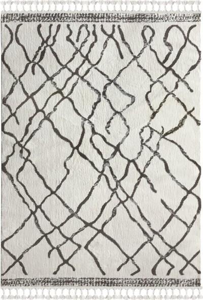 Payidar Halı Moroccan 1458A 80 x 150 cm Beyaz-Kahve Saçaklı Modern Halı