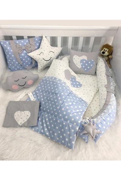 Jaju Baby Mavi Yıldızlı Lüx Ortopedik Tasarım Babynest Full Set
