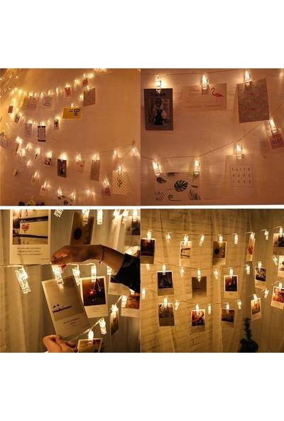Orjinal Dükkan Led Işıklı Fotoğraf Mandalları 10 lu 1,5 Metre