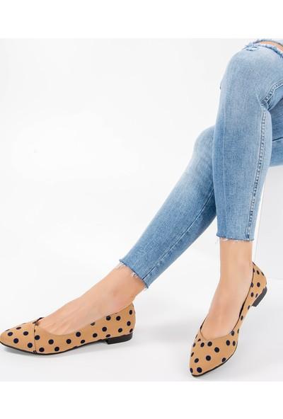 Fox Shoes Vizon Lacivert Kadın Babet F726803204
