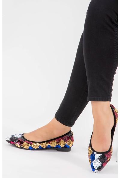 Fox Shoes Multi Siyah Saks Kadın Babet F726821340