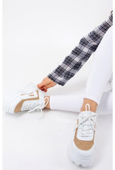 Fox Shoes Beyaz Vizon Kadın Sneakers F267018009