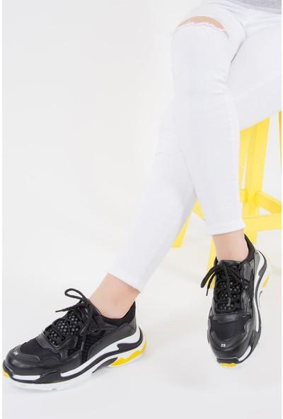 Fox Shoes Siyah Sarı Kadın Sneakers F288903309