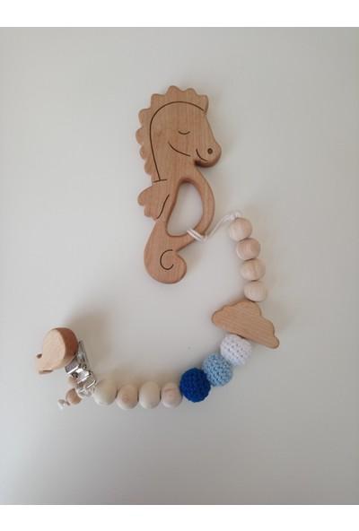 Mrs Kepi At Detaylı Mavi Ahşap Diş Kaşıyıcı