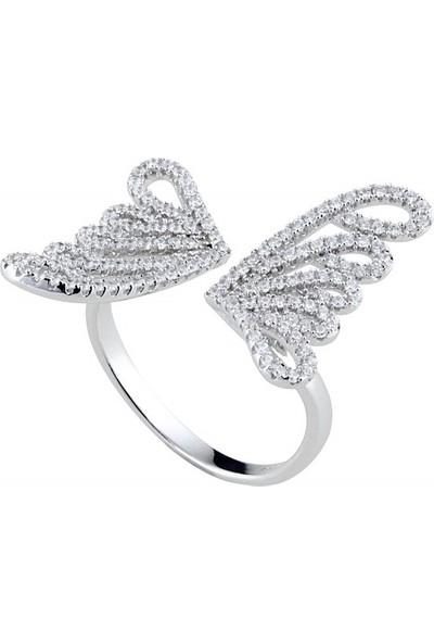 Afrodit Silver Ayarlanabilir Kelebek Tasarım Gümüş Yüzük