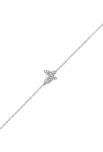 Afrodit Silver Kelebek Tasarım Kadın Gümüş Bileklik