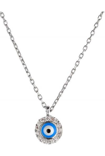 Afrodit Silver Nazar Boncuklu Tasarım Gümüş Kadın Kolye