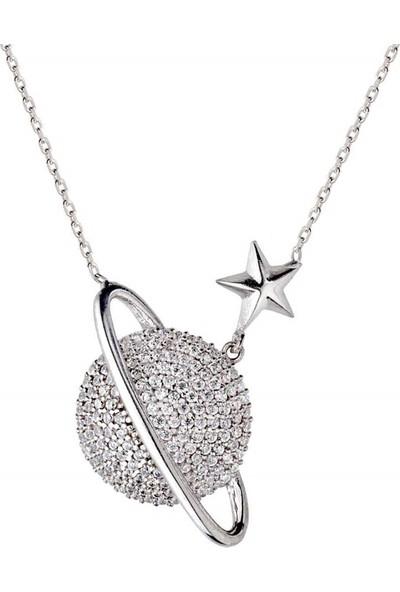 Afrodit Silver Gezegen Tasarım Gümüş Kadın Kolye