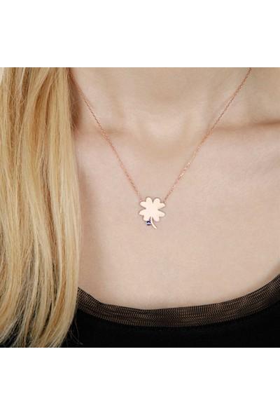 Afrodit Silver Nazar Boncuklu Çiçek Tasarım Gümüş Kadın Kolye