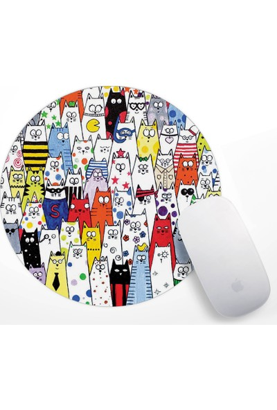 If Dizayn Sevimli Renki Kediler Mouse Pad