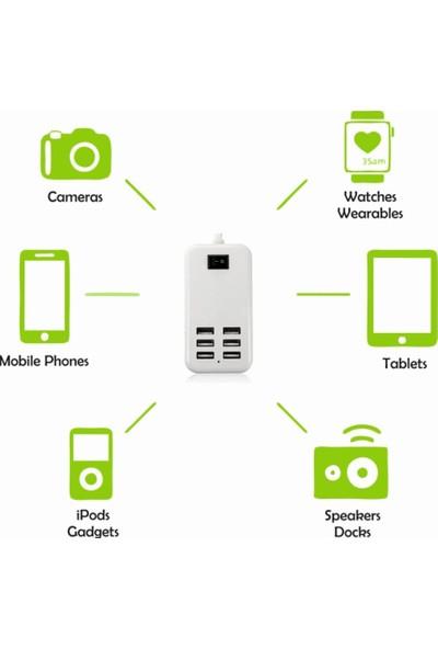 Yukka USB Çoklayıcı Çevirici Güç Adaptörü 20W 6 Girişli 1.5 mt