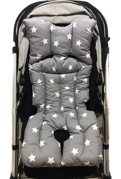 Pamuk Atölyesi Gri Yıldız ve Zikzaklı Bebek Arabası Minderi
