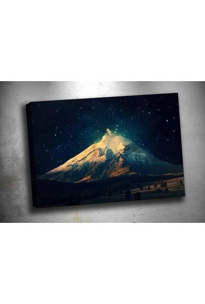 Caddeko Rpt53 Lacivert Beyaz Gece Dağ ve Yıldızlar Tek Parça Kanvas Tablo 70 x 100 cm
