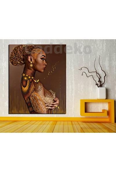 Caddeko ozl42 Dekoratif Afrikalı Kadın Kanvas Tablo 70 x 100 cm