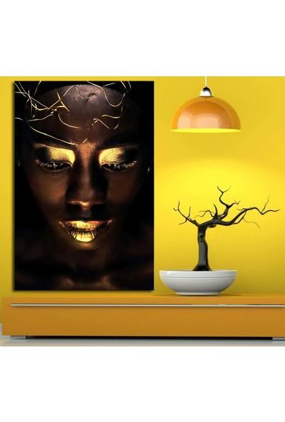 Caddeko zk7 Afrikalı Kadın Tabloları Telli Altın Renk 70 x 100 cm