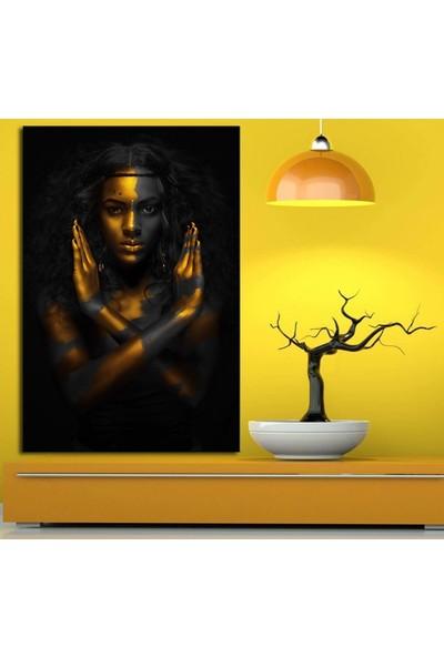 Caddeko zk6 Afrikalı Kadın Tabloları İki El Altın ve Siyah 70 x 100 cm