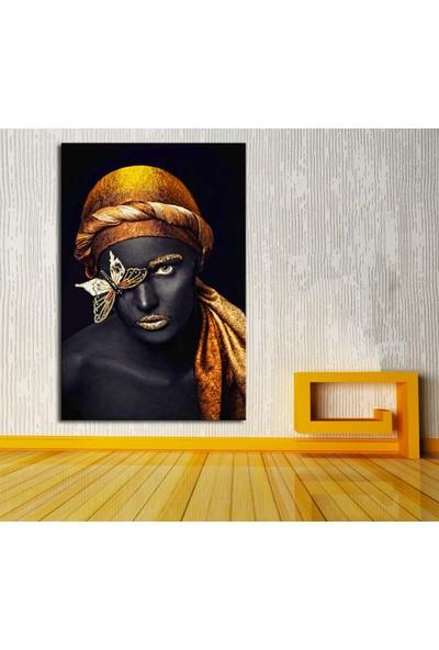 Caddeko zk9 Afrikalı Kadın Kelebek Kanvas Tablo 70 x 100 cm