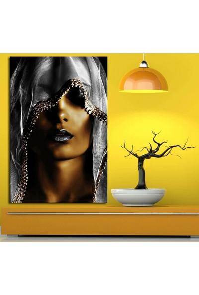 Caddeko zk8b Afrikalı Kadın Tabloları Eşarp Gümüş Renk 70 x 100 cm