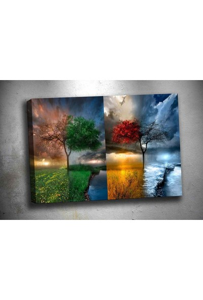 Caddeko pl34 4 Mevsim Kanvas Tablo 70 x 100 cm