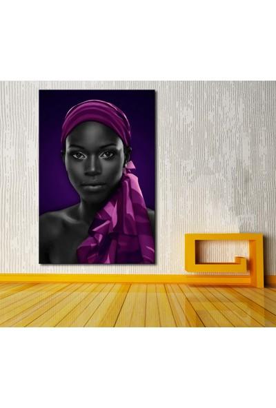 Caddeko zk26 Afrikalı Kadın Eşarp Mor Kanvas Tablo 70 x 100 cm