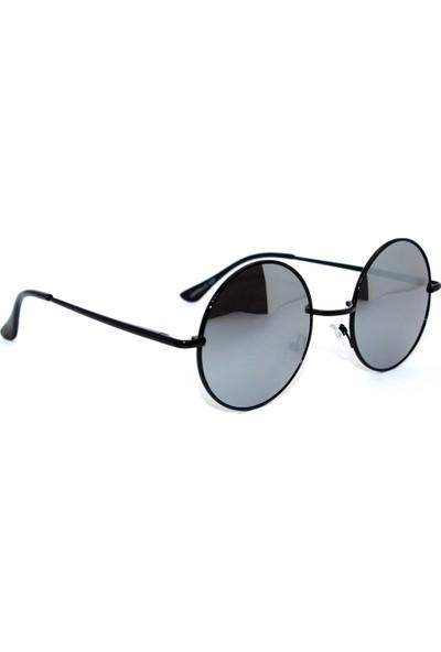 Modaroma Siyah Cam Siyah Çerçeve Aynalı John Lennon Unisex Gözlük