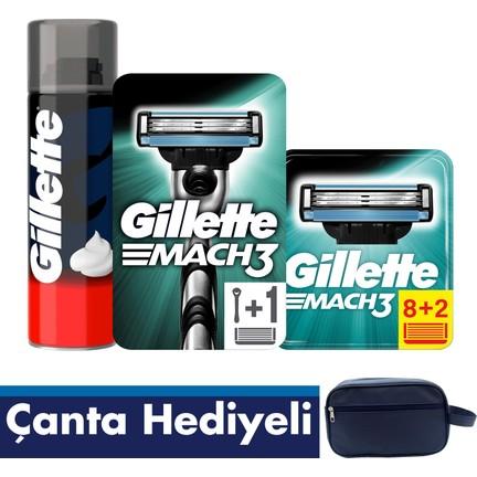 5b95308f30d06 Gillette Mach 3 10'lu Bıçak + Makine + 250 ml Köpük + Gillette Çanta