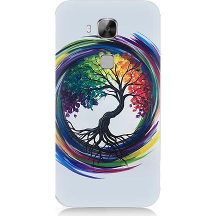 Teknomeg Huawei G8 Renkli Ağaç Desenli Tasarım Silikon Kılıf