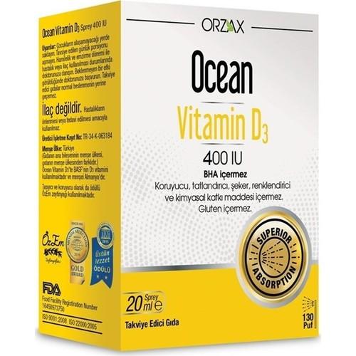 Ocean Vitamin D3 400 Iu Sprey 20ml Fiyati Taksit Secenekleri