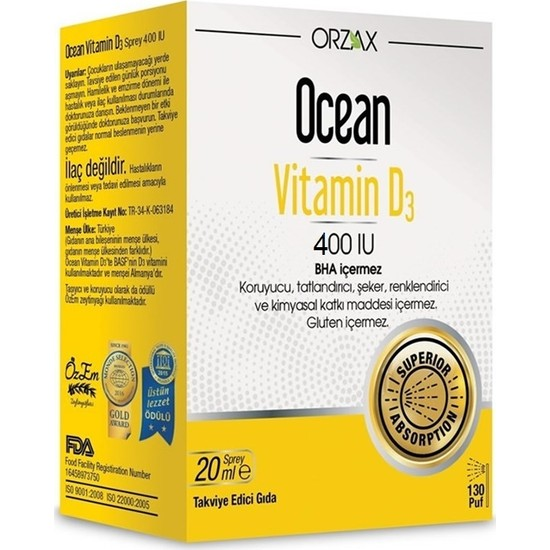 Ocean Vitamin D3 400 IU Sprey 20ml