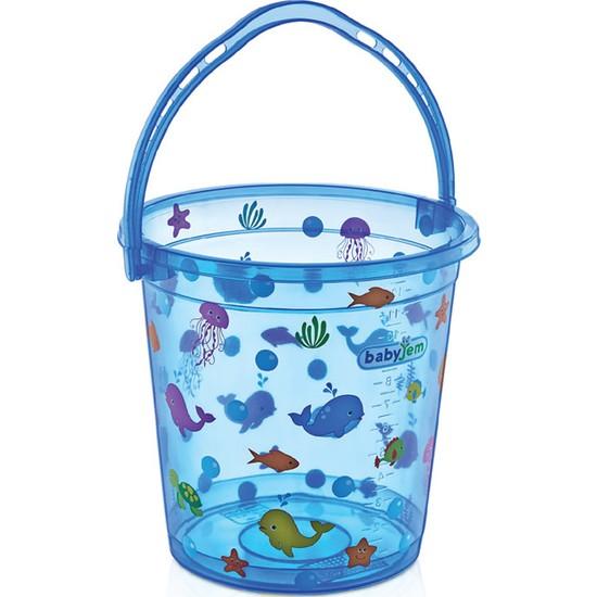 Babyjem Bebek Banyo Kovası Şeffaf Mavi Desenli