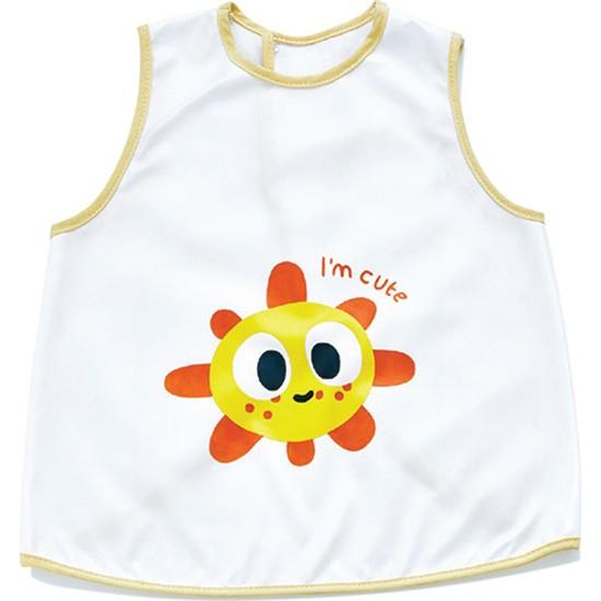 Babyjem Yeni Poli Muşamba Önlük Beyaz/Sarı Biye