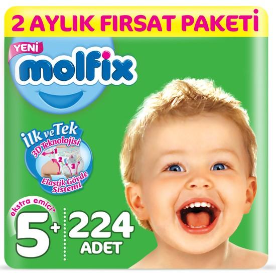 Molfix Bebek Bezi 5+ Beden Junior Plus 2 Aylık Fırsat Paketi 224 Adet