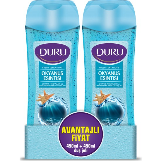 Duru Fresh Sensations Duş Jeli Okyanus Esintisi 450 ml & 450 ml
