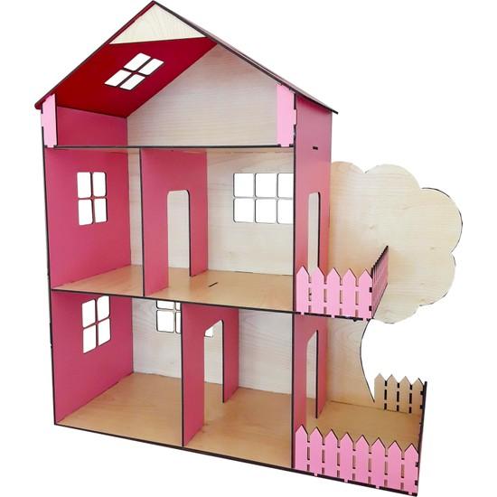 Ahşap Toys Ahşap Oyuncak Bebek Evi Açık Pembe