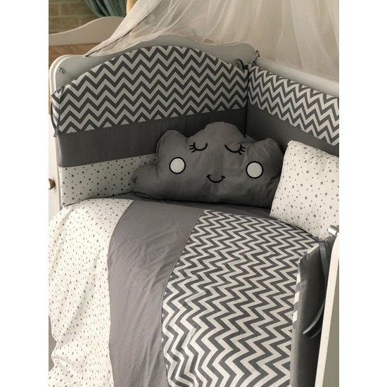 Mini Baby Figürlü Beyaz Zigzaglı Gri Bebek Uyku Seti 11 Parça