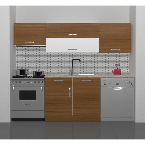 Decoraktiv Hazır Mutfak Dolabı Elite 220 cm Ceviz -Tezgah Dahil