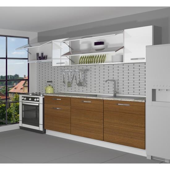 Decoraktiv Hazır Mutfak Dolabı Ekol 240 cm Ceviz & Parlak Beyaz -Tezgah Dahil