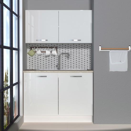 Decoraktiv Hazır Mutfak Dolabı Mini 120 cm Parlak Beyaz -Tezgah Dahil