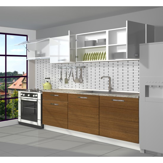 Decoraktiv Hazır Mutfak Dolabı Smart 240 cm Ceviz & Parlak Beyaz -Tezgah Dahil