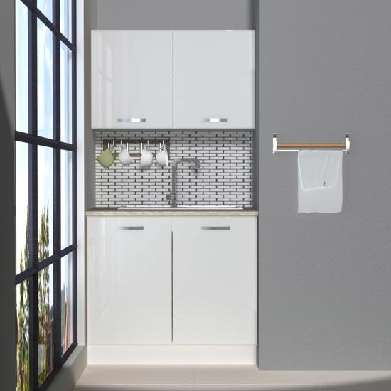 Decoraktiv Hazır Mutfak Dolabı Mini 90 cm Parlak Beyaz -Tezgah Dahil
