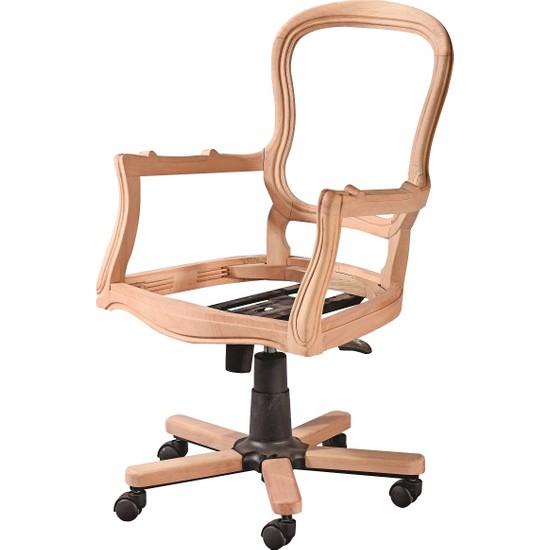 Obuts Home 4780 Klasik Dönerli Sandalye Cilasız Ahşap Ham
