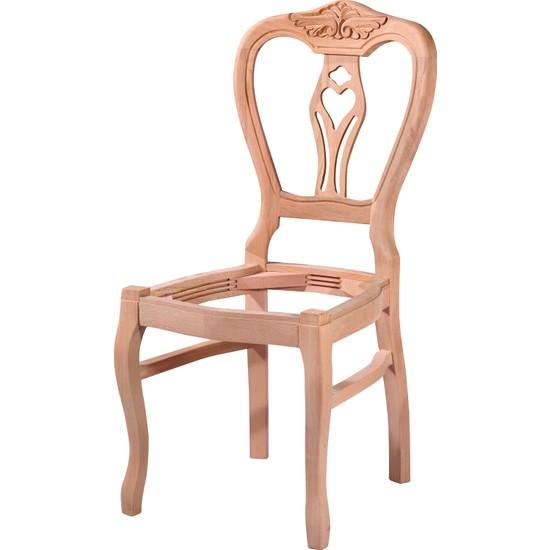 Obuts Home 4571 Klasik Kontralı Oymalı Sandalye Cilasız Ahşap Ham