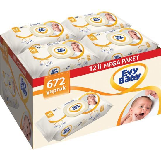 Evy Baby Islak Havlu Soft 12'li Aylık Ekonomik Paket 672 Yaprak