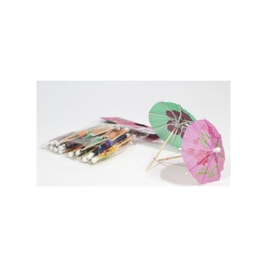 Dekorsende Kağıt Pasta Süsü Şemsiye Model 24 Lü